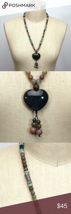 Selling this Jade and mixed stones, heart pendant necklace on Poshmark! My username is: fancyballer. #shopmycloset #poshmark #fashion #shopping #style #forsale #Jewelry