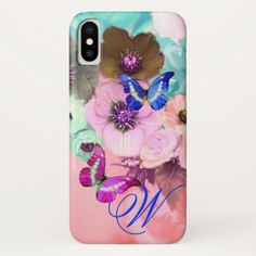 BUTTERFLIESPINK TEAL ROSES AND ANEMONE FLOWERS iPhone X CASE - spring gifts style season unique special cyo