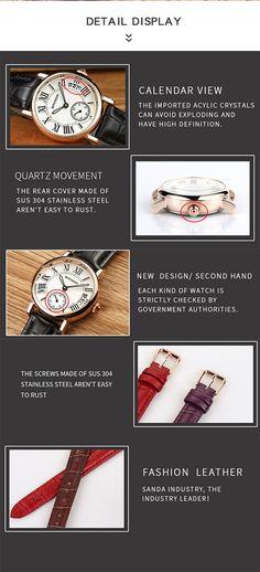 SANDA P206 Kvinner Quartz Watch Kids Jewelry, Jewelry Supplies, Women Jewelry, Quartz Watch, Watches For Men, Jewelry Watches, Calendar, Watch Women, Casual