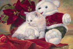 Christmas Kitten Painting - Lucie Bilodeau