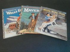 Vintage-lot-50s-Wells-Fargo-Maverick-Rin-Tin-Tin-Little-Golden-Books-A-editions