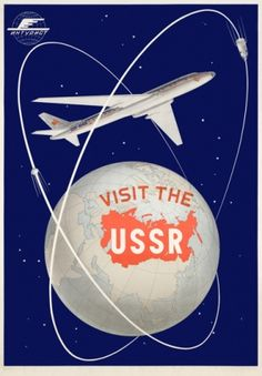 "Soviet Travel Poster or Canvas Print ""Visit the USSR"" Aeroflot Airlines Retro Poster, Vintage Travel Posters, Vintage Advertisements, Vintage Ads, Vintage Modern, Retro Airline, Vintage Airline, Soviet Art, Soviet Union"