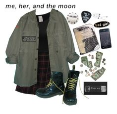 """she's in a band"" by sspaceprincess ❤ liked on Polyvore featuring Rena Rowan and Dr. Martens"