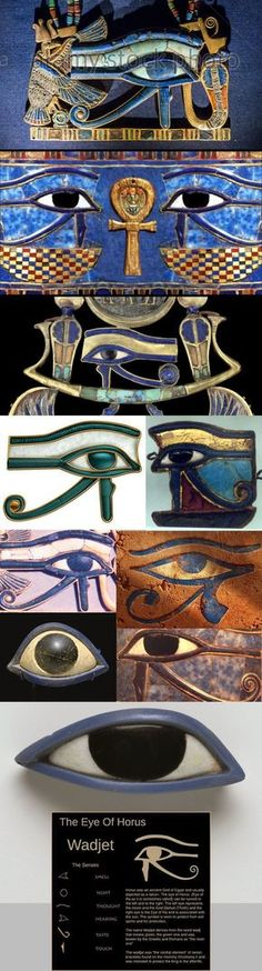 Eyes of Horus and Ra. Two ancient Egyptian deities. The eye of Horus symbolizes protection, royalty, and good health. The eye of Ra symbolizes good luck. Egyptian Mythology, Egyptian Symbols, Ancient Egyptian Art, Ancient Aliens, Ancient History, Ancient Egypt Culture, Egyptian Goddess, European History, Ancient Greece