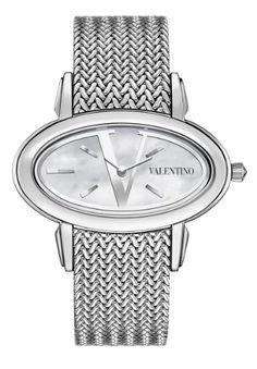ed0924a08cf Valentino Women s Signature Stainless Steel Diamond Oval Watch