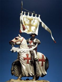 Templar Knight with banner of Jerusalem. The whole purpose of the Templar Knights was to protect the pilgrims who wanted to journey to Jerusalem after the first crusade, because the journey was not very safe and pilgrims were often killed trying to get there.
