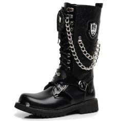 Buy product Motorcycle Waterproof Winter Boots Men Leather Black High Handmade Metallic Army Chain Botas Hombre Quality Hot Sale in Mid-calf Boots on AliExpress. Mens Military Boots, Leather Motorcycle Boots, Leather Boots, Men Boots, Biker Shoes, Punk Shoes, Men's Shoes, Lace Up Riding Boots, Rock Style Men
