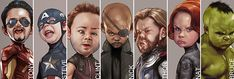Funny Caricature Portraits of 'The Avengers' That Portray the Mighty Superheroes as a Cute Children