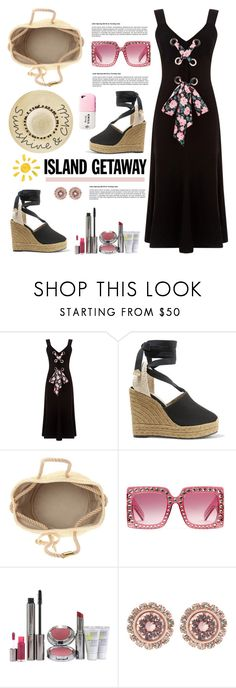 """Chic Island Getaway"" by hamaly ❤ liked on Polyvore featuring Warehouse, Yves Saint Laurent, Gucci, Juice Beauty, Ted Baker, Betsey Johnson, outfit, ootd and islandgetaway"
