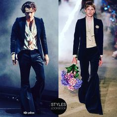 #Gucci Cruise 2019 blue velvet suit worn onstage by #HarryStyles 7/13/18 in Los Angeles, CA
