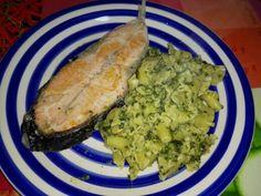 Salmão + lírios + espinafres + cogumelos + natas de salmão fumado!
