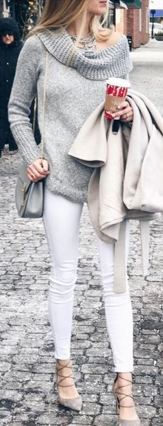 #Winter #Outfits / Gray Off The Shoulder Sweater