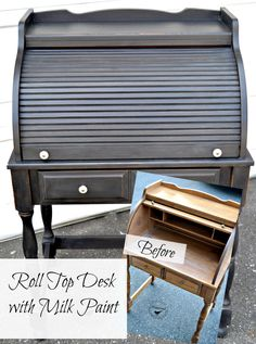 A roll top desk using Miss Mustard Seed Milk Paint in Typewriter. Inside the drawer is typewriter key drawer liner... An awesome piece! www.homeroad.net