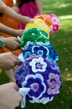 The crocheted flower bouquets
