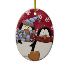 Cute Little Penguin Couple Ornament