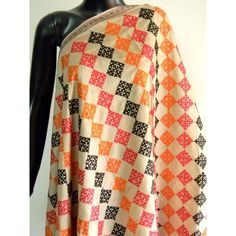 Tussar silk dupatta with Sindhi embroidery (92 inx 41 in). $50