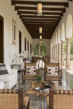 A raft of awards has already started rolling in for Chablé's impressive design. Mexico City-based interior designer Paulina Moran is responsible for an artsy laid-back vibe, sprinkling the main hub – a restored 19th-century hacienda – with antique tiles, modern art and vivid colour pops. Crumbling arches, snaking tree roots and Parota trees hung with lanterns add a magical dimension to exploring the gardens – especially by night when fireflies flicker. Mexican Style Homes, Hacienda Style Homes, Spanish Style Homes, Spanish House, Spanish Colonial, Hacienda Decor, Mexican Hacienda, Casa Patio, Moraira
