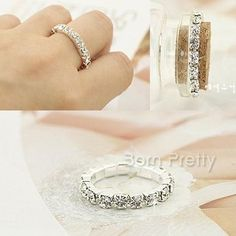 $0.99 Ring Easy Stretch Bling Crystal Extensible Ring for Finger & Toe Ring - BornPrettyStore.com