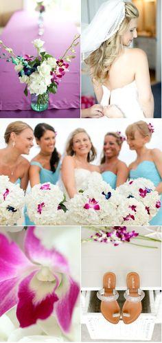 Sandbridge Beach Wedding by Sam Stroud Photography   Style Me Pretty I like the splash of colour in the white bouquet
