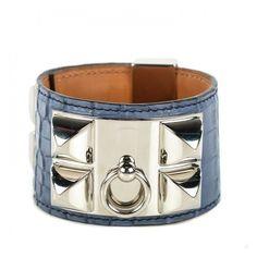 HERMES Matte Alligator Collier De Chien CDC Bracelet Brighton Blue ❤ liked  on Polyvore featuring jewelry, bracelets, evening jewelry, hermes bangle,  ... cbd29cc49d2