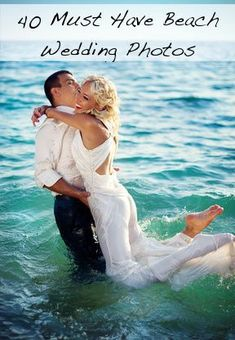 40 Must have beach wedding photos. These are some fun beach wedding pictures of you as a couple to add a little excitement to your wedding album. Wedding Album, Wedding Vows, Wedding Bells, Our Wedding, Dream Wedding, Wedding Hair, Beach Wedding Photos, Wedding Pictures, Beach Weddings