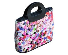 This handbag is made using magazine paper in hues of pink, red and purple. Cut into strips, laminated and woven tightly.  Features three inner pockets, using YKK zippers and lined with black polyester fabric  Dimensions in Inches: Height 12 Length 15 Width 4  Dimensions in centimeters: Length 38 cm Height 30 cm Width 10 cm  **************************************************  Here is a similar handbag using different materials:  Measuring tapes: https://www.etsy.com/il-en/l...