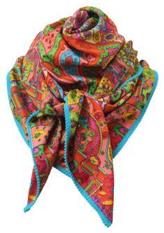 Paisley Spring  - Deze kleurige twill zijde sjaal voelt heerlijk zacht en warm aan. Het heeft een bijzondere kleurencombinatie met geel, blauw, roze, groen en oranje. Makkelijk te combineren dus.