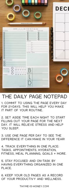 Get organized with The Daily Page Notepad! Track your hydration, meal planning, fitness, to-do list, goals and events all on one page! Thyme-is-Honey.com