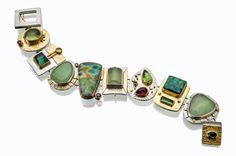 Sydney Lynch || Monet multilink bracelet: prehnite, rhodolite garnets, peridot, tourmaline, green chalcedony, ruby zoisite, green beryl, turquoise, 18k 22k gold, silver. 7 inches long. $5090.