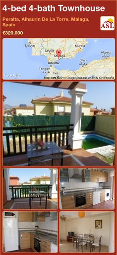 Townhouse for Sale in Peralta, Alhaurin De La Torre, Malaga, Spain with 4 bedrooms, 4 bathrooms - A Spanish Life Malaga City, Malaga Spain, Murcia, Seville, Ground Floor, Townhouse, Terrace, Swimming Pools, Bathrooms