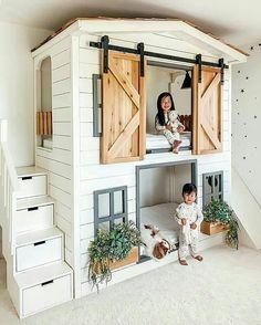 Girl Bedroom Designs, Girls Bedroom, Bedroom Decor, Bunk Beds For Girls Room, Kid Bedrooms, Loft Bunk Beds, Bedroom For Kids, Bunk Bed Ideas For Small Rooms, House Beds For Kids
