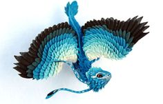 Little Dragon cute figurine blue, forest, Earth dragon, fantasy art sculpture handmade - magic gift