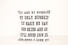 You are my Sunshine 18x18 Pillow Cover   Lullaby Child Song Lyrics Art   Home Decor Gifts   Unique Gift for Her   Wedding Present   Grandma