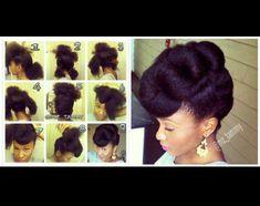 Super cute, elegant natural hair updo.