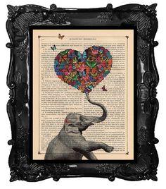ELEPHANT Print A Heart full of Butterflies von BlackBaroque auf Etsy