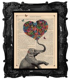 ELEPHANT Print A Heart full of Butterflies von BlackBaroque auf Etsy