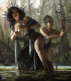 """Swamp witches - """"Illustration of witches hiding in swamps of Louisiana. Done for White Wizard games, - ART by Martina Fačková (PRO) - Fantasy Illustrator at White Wizard Games Fantasy Witch, Witch Art, High Fantasy, Fantasy Rpg, Medieval Fantasy, Fantasy Artwork, Witch Characters, Fantasy Characters, Fantasy Inspiration"""