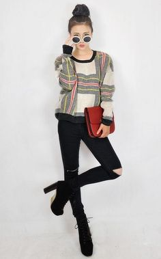 2013 Autumn and Winter Color Patchwork Knitted Pullover Sweater For Women Long Sleeve O-Neck Loose Style  Plaid Sweater