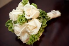 Bridal Bouquet with White Roses and Bells of Ireland (to honor my Irish Grandmother Dot!!)