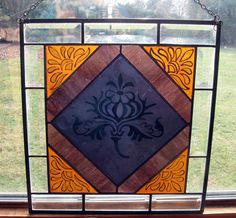 Lady's Thistle KilnFired Stained Glass Panel by TreasuresOfLight, $150.00