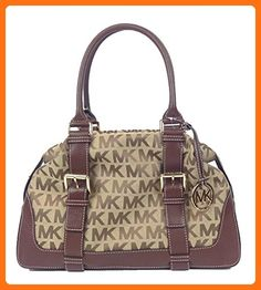 Michael Kors Brookville Large Jaquard Bowling Satchel, Beige / Mocha - Satchels (*Amazon Partner-Link)