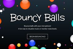 Bouncy Balls - Show the noise levels in your classroom in a visual way  Web Address:http://ift.tt/1rYZr53About:This is a great site for when you want to control the noise levels in your class room. In order for it to work you need a microphone plugged into your class computer and then have the display of the class computer projected onto a screen/interactive whiteboard. The louder your pupils are the more the balls bounce...