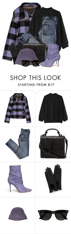 """""""Checked Coat & Fringed Ankle Boots"""" by brendariley-1 ❤ liked on Polyvore featuring Silvian Heach, Cheap Monday, Aperlaï, Mulberry, C.P. Company and Ray-Ban"""
