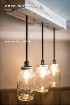 FREE SHIPPING  3 Light Mason Jar by NorthernLightsCanada on Etsy, $259.99