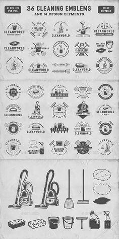 36 Vintage Cleaning Emblems — Photoshop PSD #logo #service • Download ➝ https://graphicriver.net/item/36-vintage-cleaning-emblems/19862824?ref=pxcr
