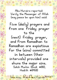Add with reading surah Al Kafh, every Friday. Insya Allah there will be a light upon you until the next Friday (: