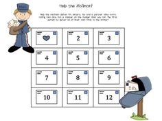 Help the mailman deliver his letters. You and a partner take turns rolling two dice. Put a marker on the number that you roll. The first person to ...