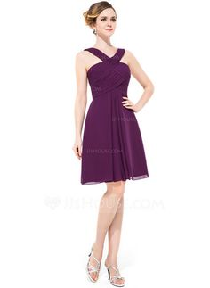 A-Line/Princess V-neck Knee-Length Chiffon Bridesmaid Dress With Ruffle (007051434) - JJsHouse