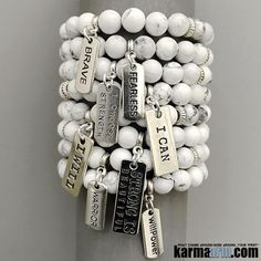 #BEADED #Yoga #Charm #BRACELETS ♛ White Turquoise is a wonder stone for calming upset states of mind and emotion. White Turquoise decreases an overly critical state of mind, selfishness, stress, and anxiety, bringing calm and relaxation. #Chakra #gifts #Stretch #Womens #jewelry #Eckhart #Tolle #Crystals #Energy #gifts #Handmade #Healing #Kundalini #Law #Attraction #LOA #Love #Mala #Meditation #prayer #Reiki #mindfulness