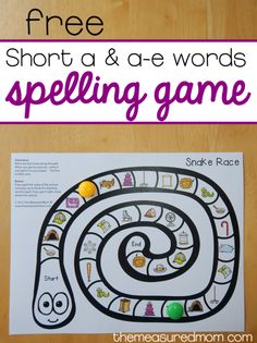 Print this free no-prep spelling game to give your child practice spelling short a and a-e words! Short A Activities, Word Study Activities, Spelling Activities, Literacy Games, Reading Activities, Literacy Centers, Spelling Rules, Grade Spelling, Spelling Ideas
